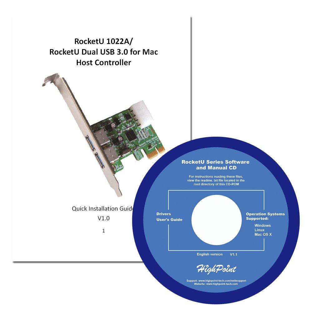 HighPoint RocketU 1022A SuperSpeed USB 3.0 PCI-Express 2.0 x1 Non-RAID HBA