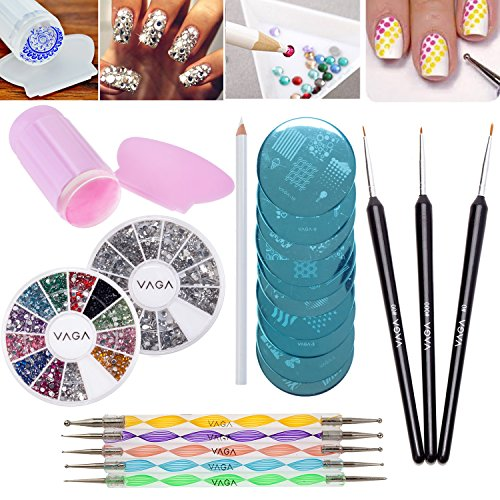 Best Value Professional Nail Art Designs Set With Wheels of 1200 Silver Gemstones In Different Shapes And 1200 Crystals / Gems In 12 Different Colours, Stampers / Stamps, Scrapers / Scraping Utensils, Stamping Plates / Templates, Dotters / Dotting Tools, Wooden Fine Detail Nails Brushes And Rhinestones Decorations Picker Pencil By VAGA