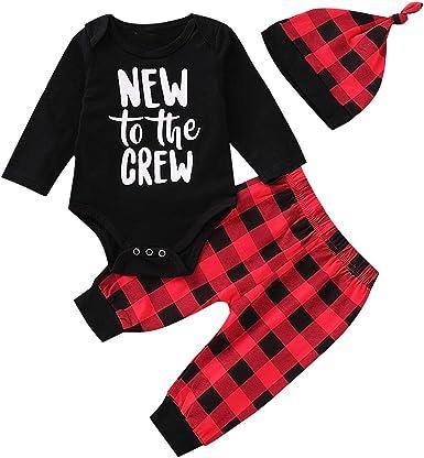 UK Newborn Baby Boys Tops Romper Bodysuit Pants Hat Plaid Outfits Clothes Set