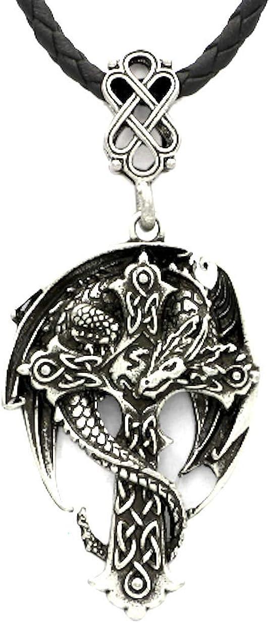 PIERRETOILES Collar talismán Cruz Celta Dragón con Collar
