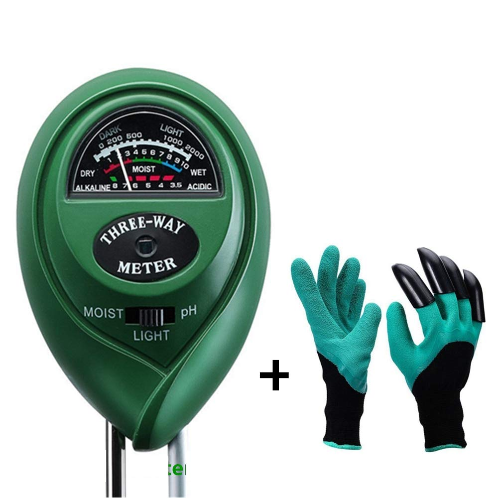Diiker Soil Test kit, Soil pH meter Include 3-in-1 Moisture Tester Digital Tool for pH/Water/Light and Garden Genie Gloves, Testing for Gardening/Lawn/Plants, Indoor Outdoors(No Battery Needed) by Diiker