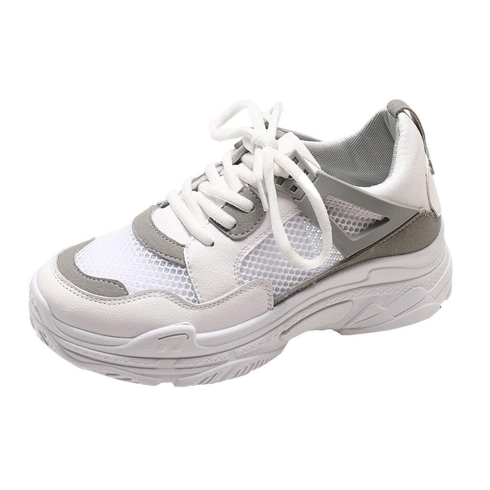 Zapatos Mujer,Casuales Deportes al Aire Libre de la Mujer Gruesa Suela Transpirable Hueco Baotou Malla Zapatillas