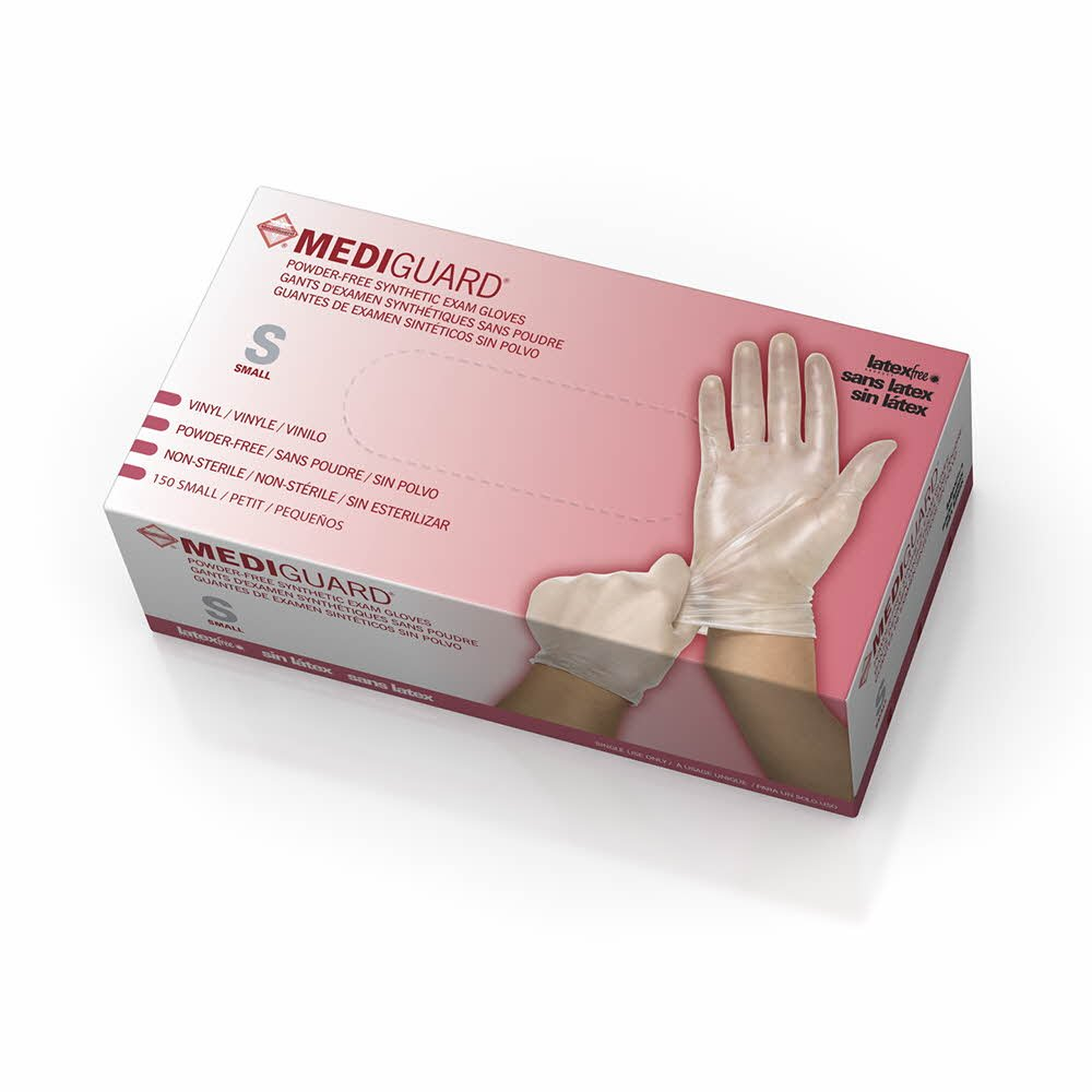 Medline Mediguard Vinyl Synthetic Exam Gloves, Clear, Small, 1500 Count