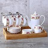 DHG Ceramic Coffee Cup Bone Porcelain Flower Tea Cup English Tea Cup Afternoon Tea Set European Furniture Set,B