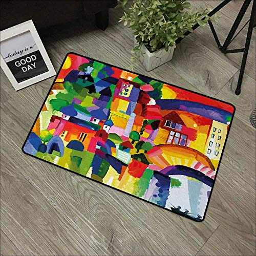 (Meeting Room mat W24 x L35 INCH Art,Modern Vivid Abstract Architectural Buildings Urban Apartment Houses Village Landmark,Multicolor Easy to Clean, no Deformation, no Fading Non-Slip Door Mat Carpet)