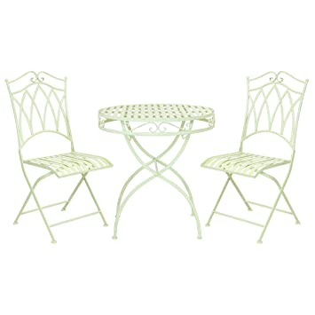 Bentley - Salon de jardin style bistro - table et 2 chaises - fer ...