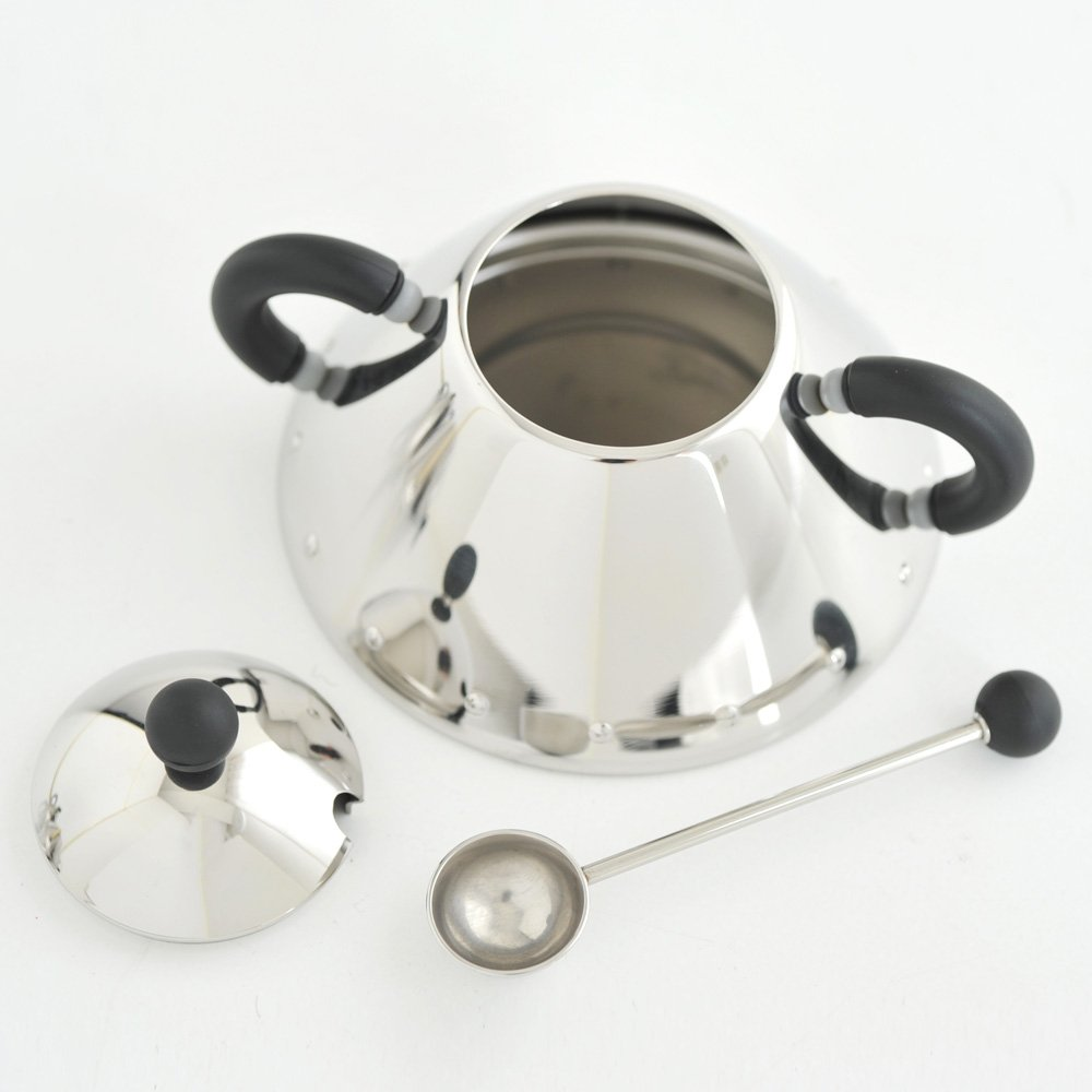 Blue Alessi 9097 Sugar Bowl and Spoon in Stainless Steel