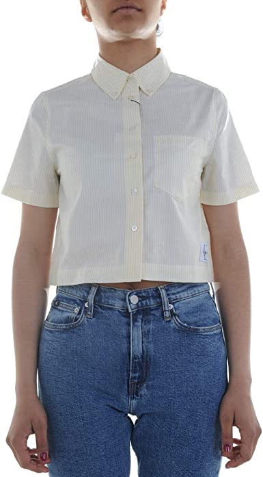 Calvin Klein Jeans Cropped SS Oxford Camisa de mujer ...