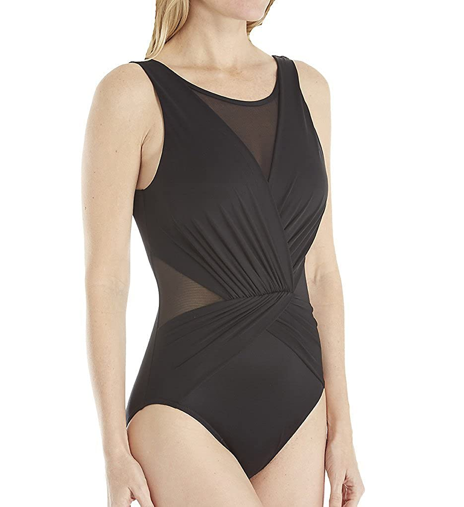 Miraclesuit Womens Illusionists Palma One Piece High Neck Swimsuit