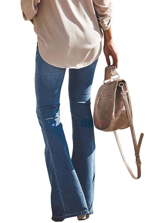 Yezelend Donna Jeans a Zampa Pantaloni a Vita Alta Elasticizzati Donna Jeans a Zampa di Elefante Svasati Classici Vita Alta Push-Up Blu Pantaloni Denim Larghi