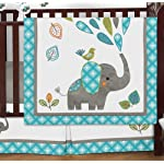 Sweet-Jojo-Designs-9-Piece-Turquoise-Blue-Gray-and-White-Mod-Elephant-Crib-Bed-Bedding-Set-with-Bumper-for-a-Newborn-Baby-Girl-or-Boy