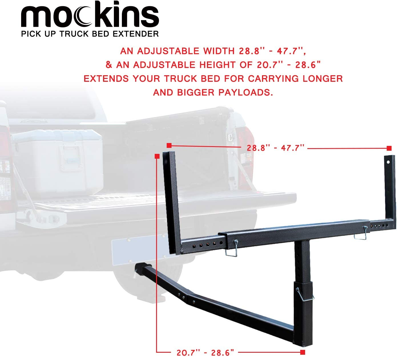 Mockins Heavy Duty Steel Pick Up Truck Bed Extender with Ratchet Straps Stainless The Hitch Mount Truck Bed Extension can be Used for Lumber or a Ladder or a Canoe /& Kayak