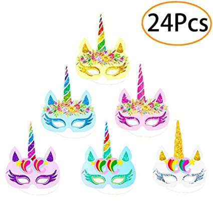Image Unavailable Not Available For Color 24Pcs Unicorn Paper Masks Theme Party Supplies