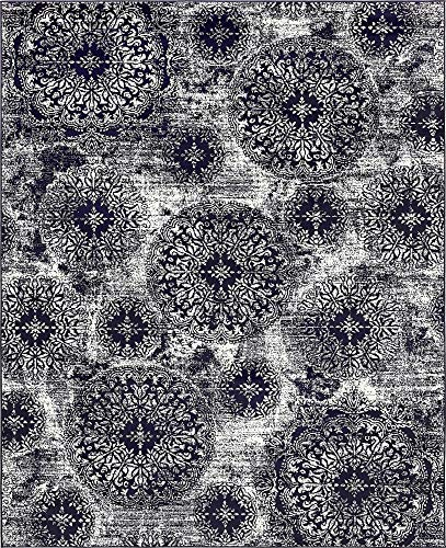 Unique Loom 3138693 Sofia Collection Traditional Vintage Beige Area Rug, 8' x 10' Rectangle, Navy Blue