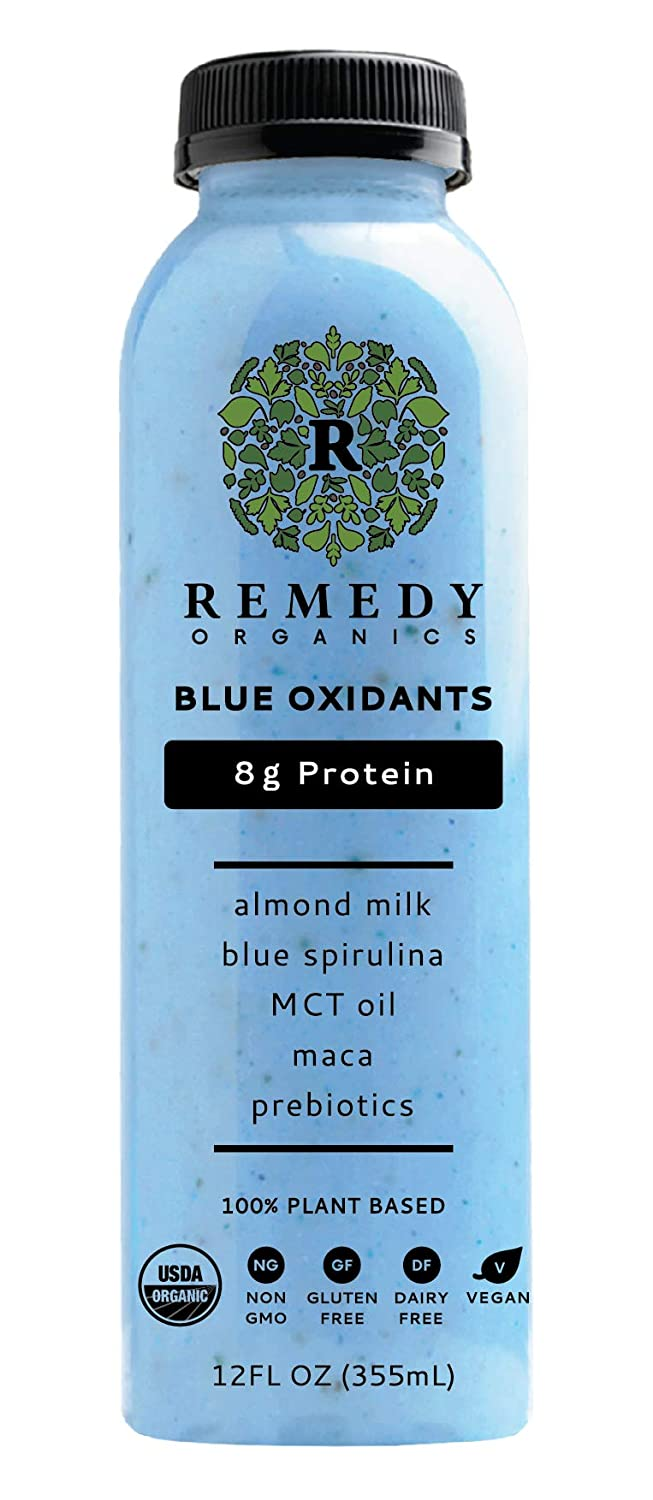 Remedy Organics Blue Oxidants 12-Pack | Plant Based Protein Shakes, Ready to Drink | USDA Organic, Gluten Free, Dairy Free, Soy Free