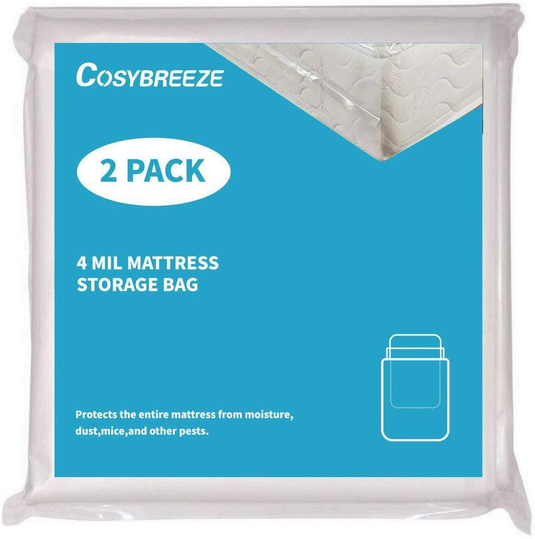 [2-Pack] Queen Size Mattress Bag Covers for Moving, Long-Term Storage and Disposal, 4 Mil Thick Heavy Duty Mattress Protection Box Spring - 76 x 96Inch