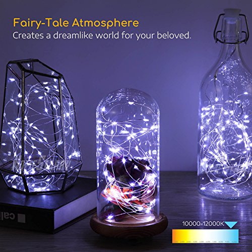 4 Pack Fairy Lights Fairy String Lights Battery Operated Waterproof 8 Modes Remote Control 50 Led String Lights 16.4ft Silver Wire Firefly lights for Bedroom Wedding Festival Decor (Cool White) by Homestarry (Image #3)