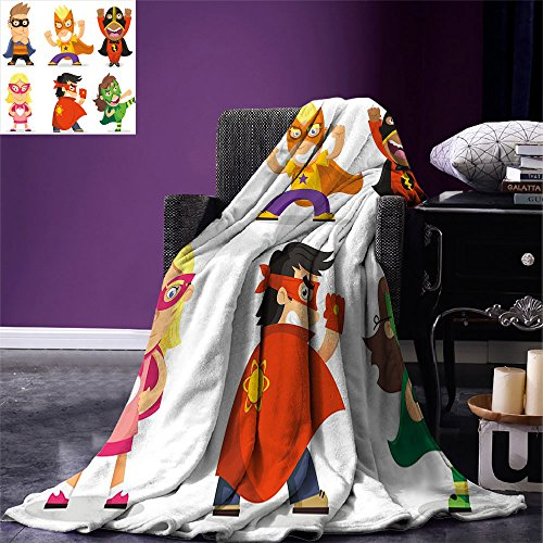 (smallbeefly Superhero Super Soft Lightweight Blanket Children Dressed as Superheroes Kids Playroom Girls Boys Nursery Babyish Picture Oversized Travel Throw Cover Blanket)