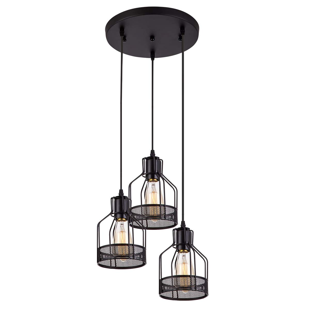 Pendant Light with Rustic Black Metal Cage Shade, Industrial Retro Matte Black Adjustable 3-Lights Hanging Lighting, Pendant lamp Fixtures for Home, Kitchen Island, Barn, Dining Room, Cafe, Farmhouse