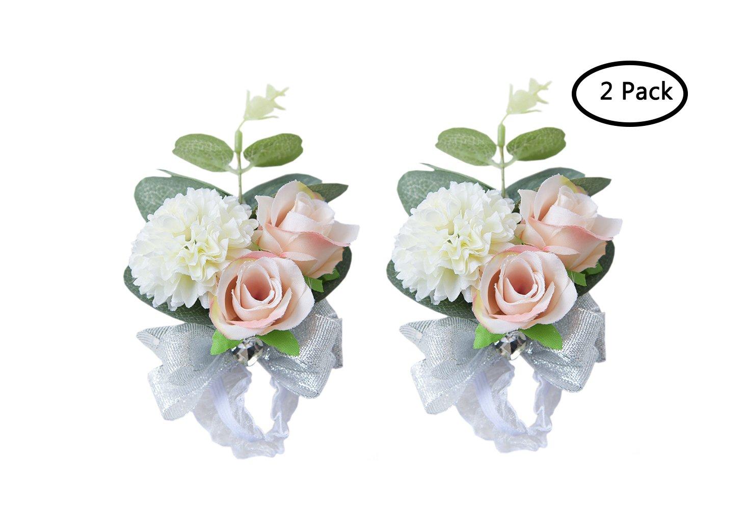 MOJUN-Wedding-Bridal-Bridesmaid-Wrist-Flower-Corsage-Wedding-Planner-Wrist-Corsage-Hand-Flower-Pack-of-2