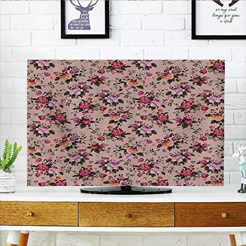 - L-QN Front Flip Top FloralWith Roses Twig WaColors Flower Arrangement Bouquets Bathroom Front Flip Top W30 x H50 INCH/TV 52