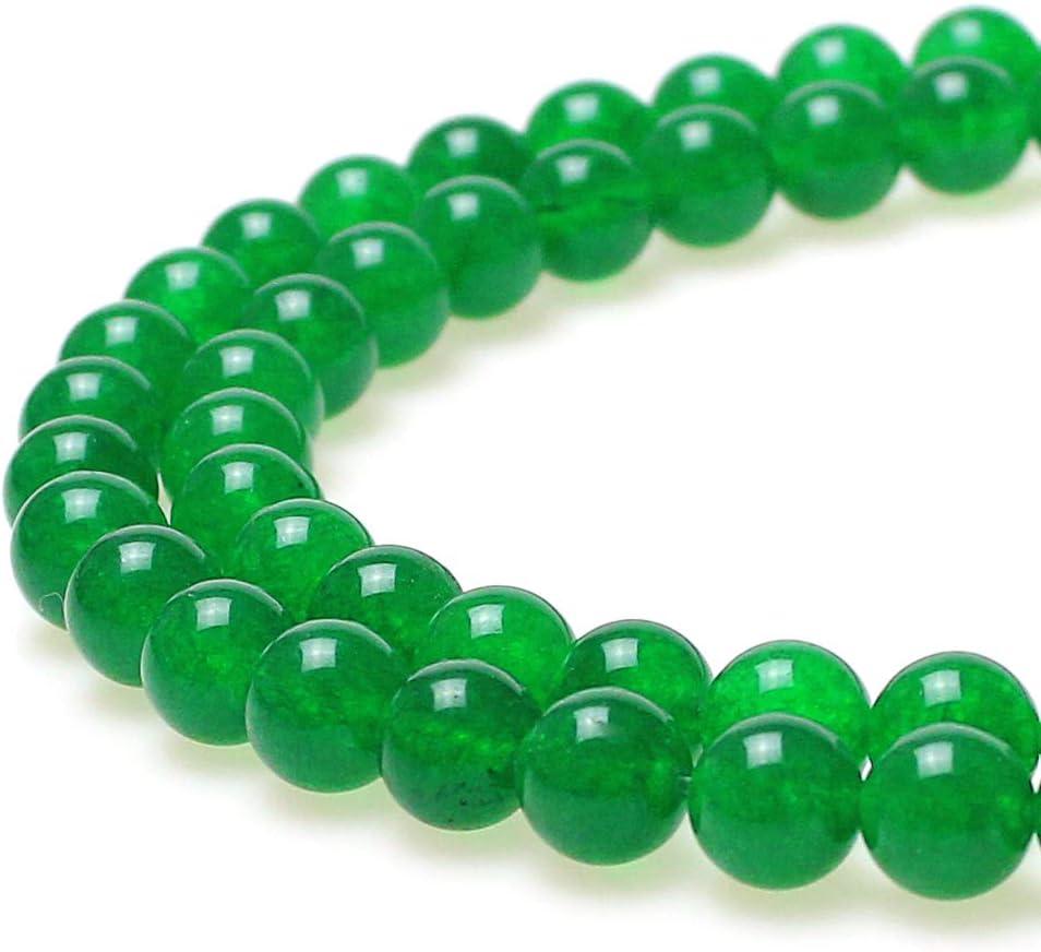 jarc Cuentas Para Pulseras Energéticas Pulsera de Yoga Pulsera DIY Cuentas de Piedra Jade Verde 32 Piezas, 34 cm, 12 mm