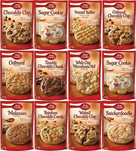 Betty Crocker Cookie Mix Sampler 17.5oz Pouch (Variety Pack of 12 with 11 Different (White Chocolate Cookie Mix)
