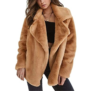 Beige Mantel Faux Fur Damen Warmer Lange Mode Dicker Jacke Kunstfell Langarm Pelzmantel Fellimitat VSzUjMqGLp
