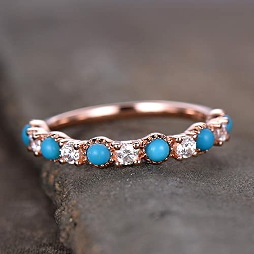 fff523cd76bb74 Amazon.com: Turquoise Wedding Band Antique Turquoise Ring CZ Diamond  Eternity Band Sterling Silver Anniversary Ring Rose Gold Plated: Handmade