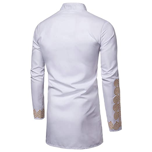 Abetteric Mens Muslim Oversize Gilded Stand Collar Skinny Button Down Shirt