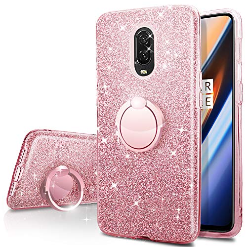 OnePlus 6T Case, Silverback Girls Bling Glitter Sparkle Case with 360 Rotating Ring Stand, Soft TPU Outer Cover + Hard PC Inner Shell Skin for OnePlus 6T Case -Rose Gold