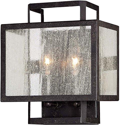 Minka Lavery Wall Sconce Lighting 4870-283 Camden Square Damp Bath Vanity Fixture, 2-Light 120 Watts, Aged - 283 Bath Lighting