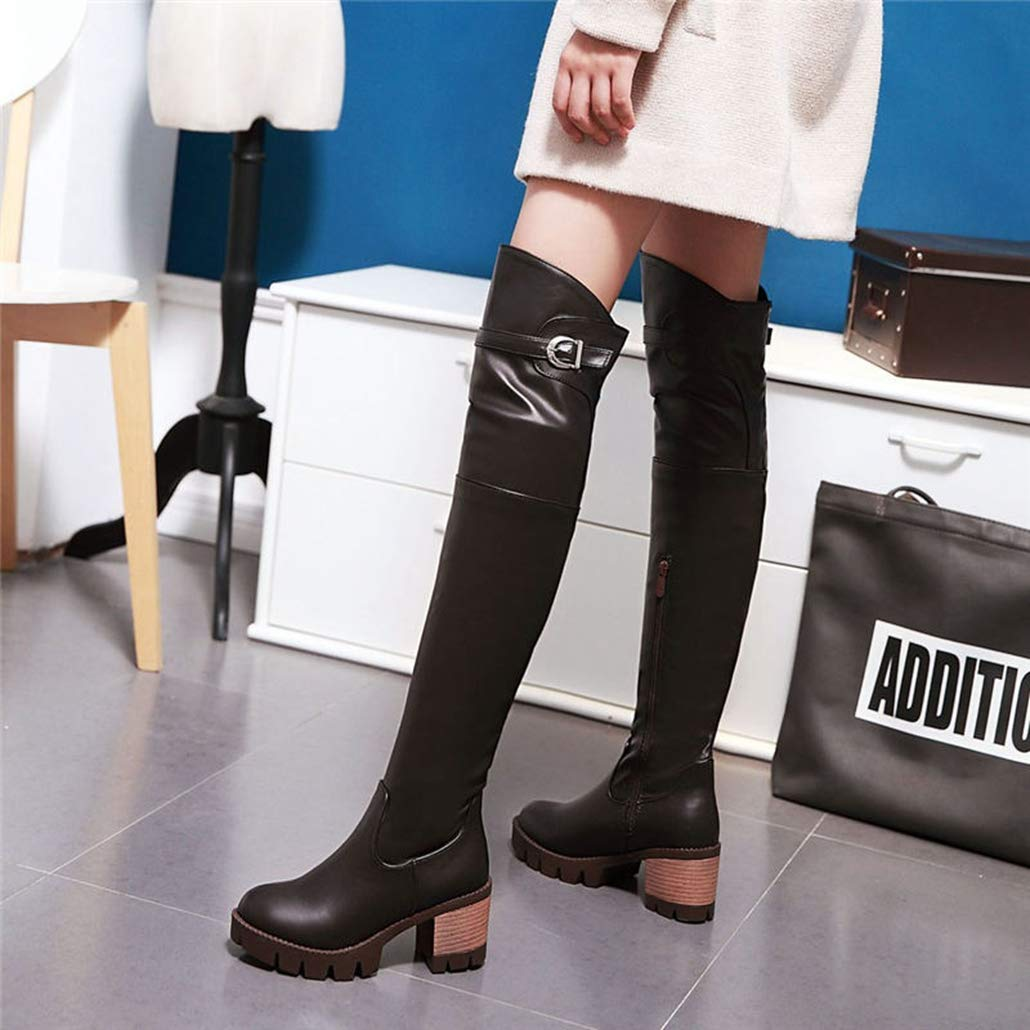 ODOKAY Winter Round Toe Square Heel Women Boots Autumn High Heel Over The Knee Boots Simple Zip Platform Boots