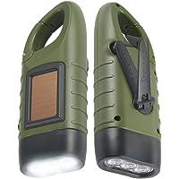 Simpeak Hand Cranking Solar Powered Flashlight, Rechargeable Emergency LED Flashlight Carabiner Dynamo Quick Snap Clip…
