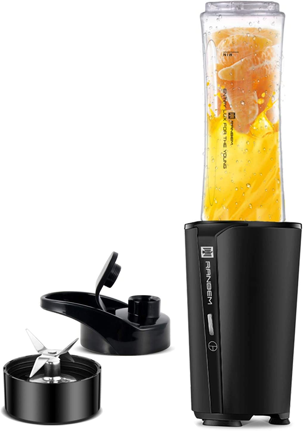 Bullet Blender for Shakes and Smoothies – Small Personal Blender for Kitchen Fruit Juice Milkshakes Single Serve with 20oz Travel Cups, Portable Lid, 300W