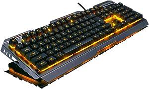 Aftershock Mechanical Feel Gaming Keyboard LED Backlit Wired Membrane Anti Ghosting Keyboard