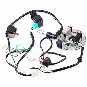 61TFJKiYSQL._SY355_ amazon com cisno kick start dirt pit bike wire harness wiring pit bike wiring harness at edmiracle.co