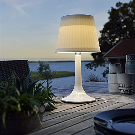 online retailer 118df f73c7 LED Solar Table Lamp White Plastic Night Lights Suitable for Garden  Tables,Outdoor Dinning,Balcony Decoration,Adjust Atmosphere (White)