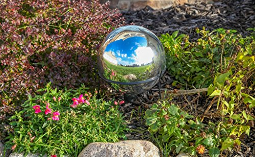 Lily's Home Glass Gazing Mirror Ball, Colorful and Shiny Addition to Any Garden or Home, Ideal As a Housewarming Gift, Sparkling Silver (10 Inches Diameter) by Lilyshome (Image #1)