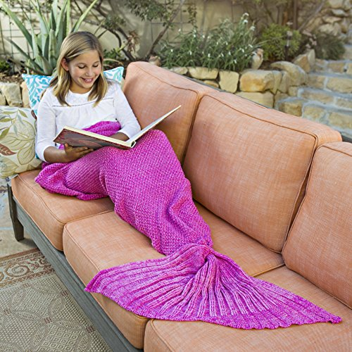 Riviera Mermaid Tail Blanket + Bonus Seashell Necklace and Bookmark - Soft Cozy Crochet Knit Sea Tail Fits Kids and Adults - Magical Sleepover Fun! (Pink)
