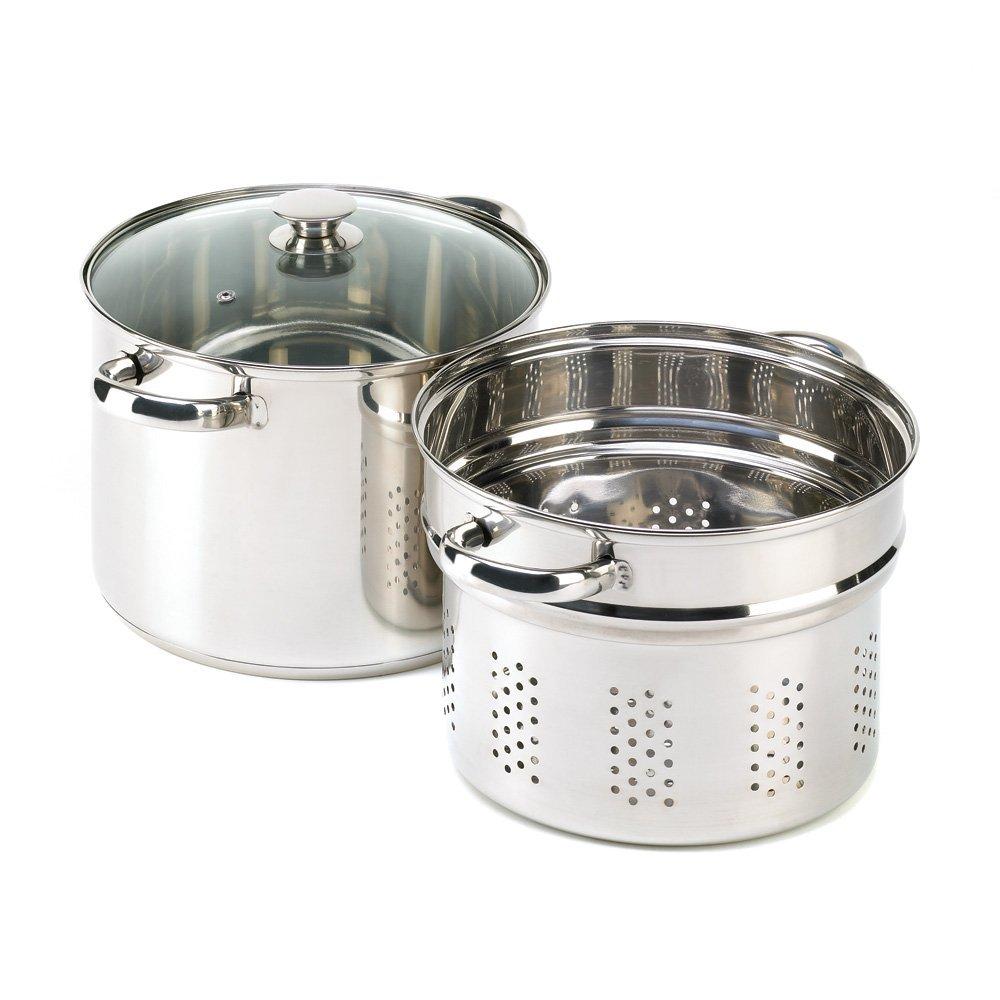 VERDUGO GIFT Stainless Pasta Cooker Stock Pot Strainer Lid Set, 8 quart