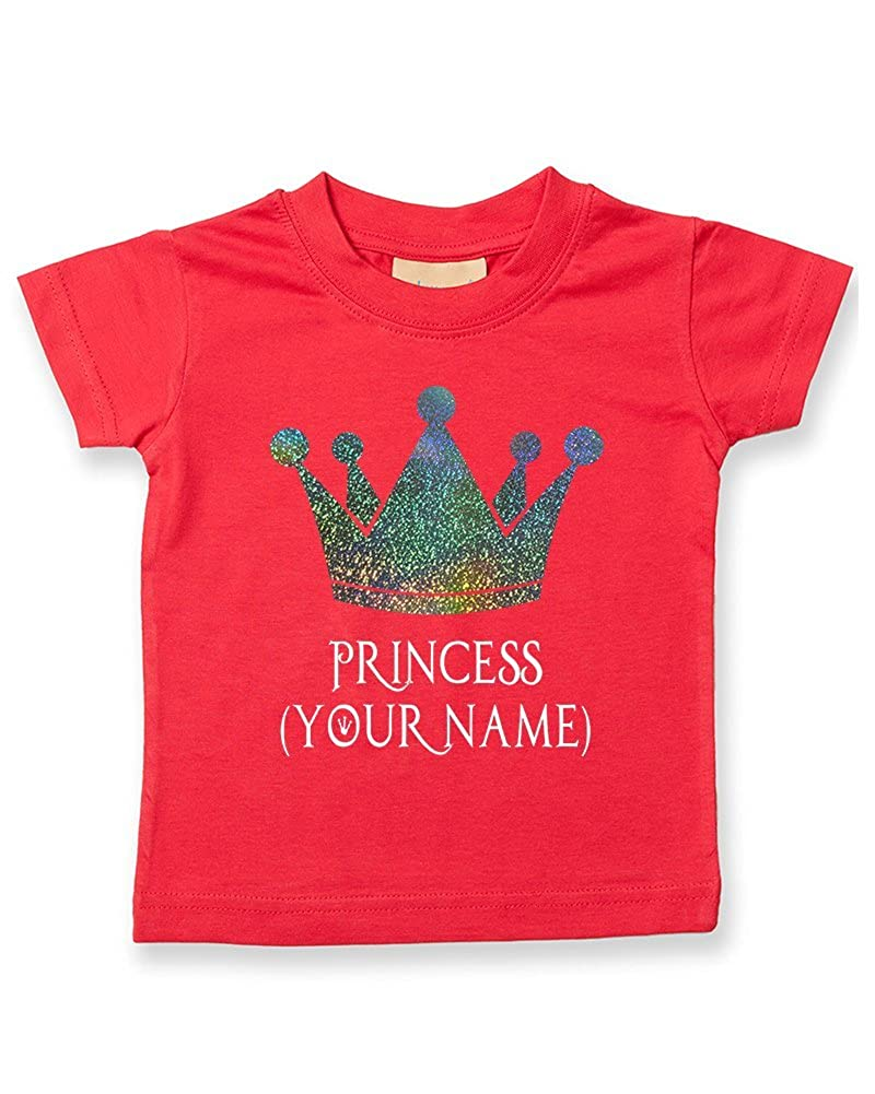 FatCuckoo Personalised Princess Crown Baby Girls, Kids Toddler T-Shirt (EMAIL The Name You Want)