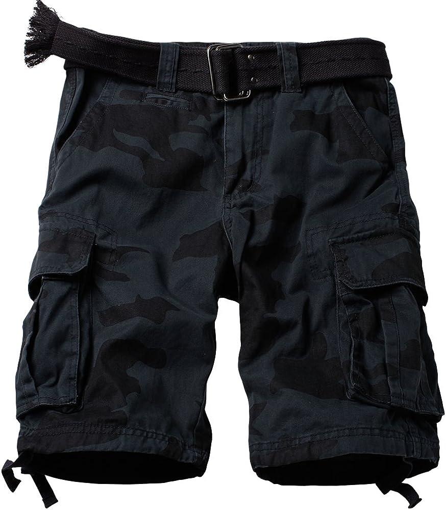 AUSZOSLT Men's Classic Multi Pocket Slim Fit Cotton Twill Casual Cargo Shorts