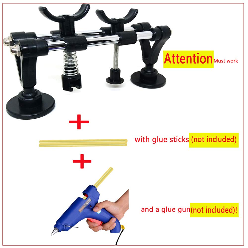 LTUPWF Auto Car Body Dent Repair Tool Paintless Dent Puller Remover Tools Car Dent Remover Kit with Double Pole Bridge with 18pcs Glue Puller Tabs for Door Ding, Hail Damage and Home DIY by LTUPWF (Image #6)
