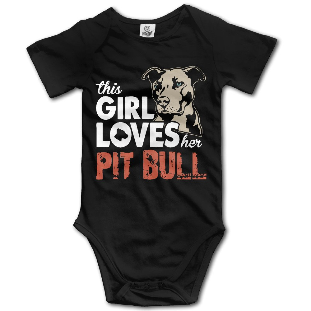 SUSANHO This Girl Loves Her Pit Bull Baby's Printed Newborn Baby Jumpsuit Clothes