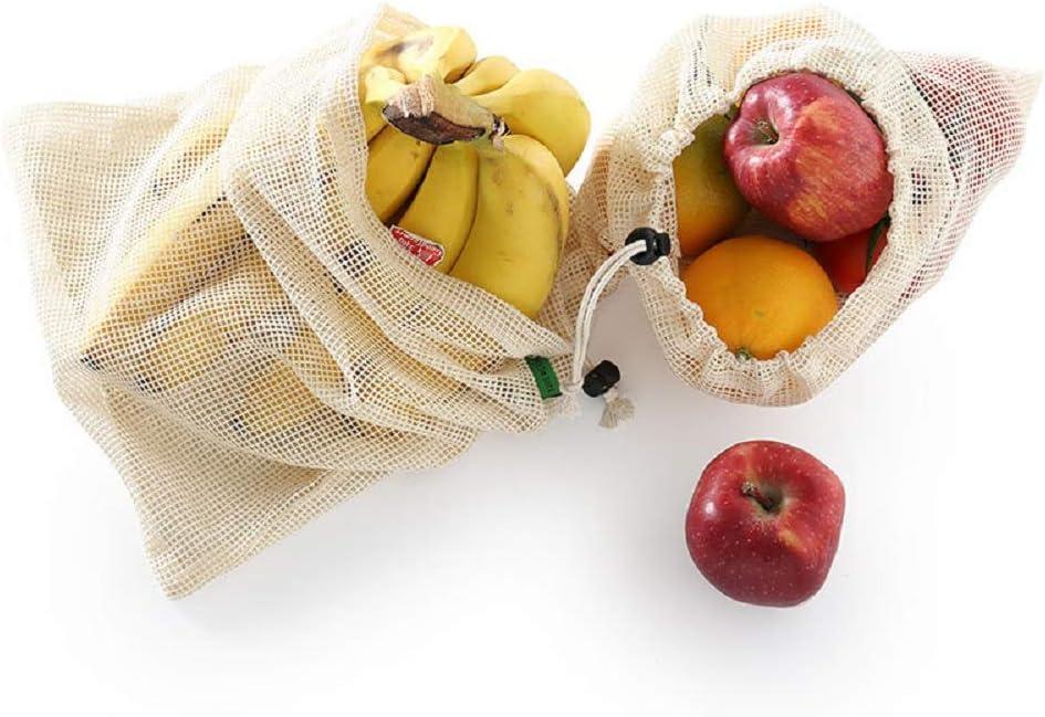 Meantobe 10 bolsas reutilizables de algod/ón lavable con peso tara Bolsas de malla reutilizable para frutas y verduras ecol/ógicas 3L, 4M, 3S