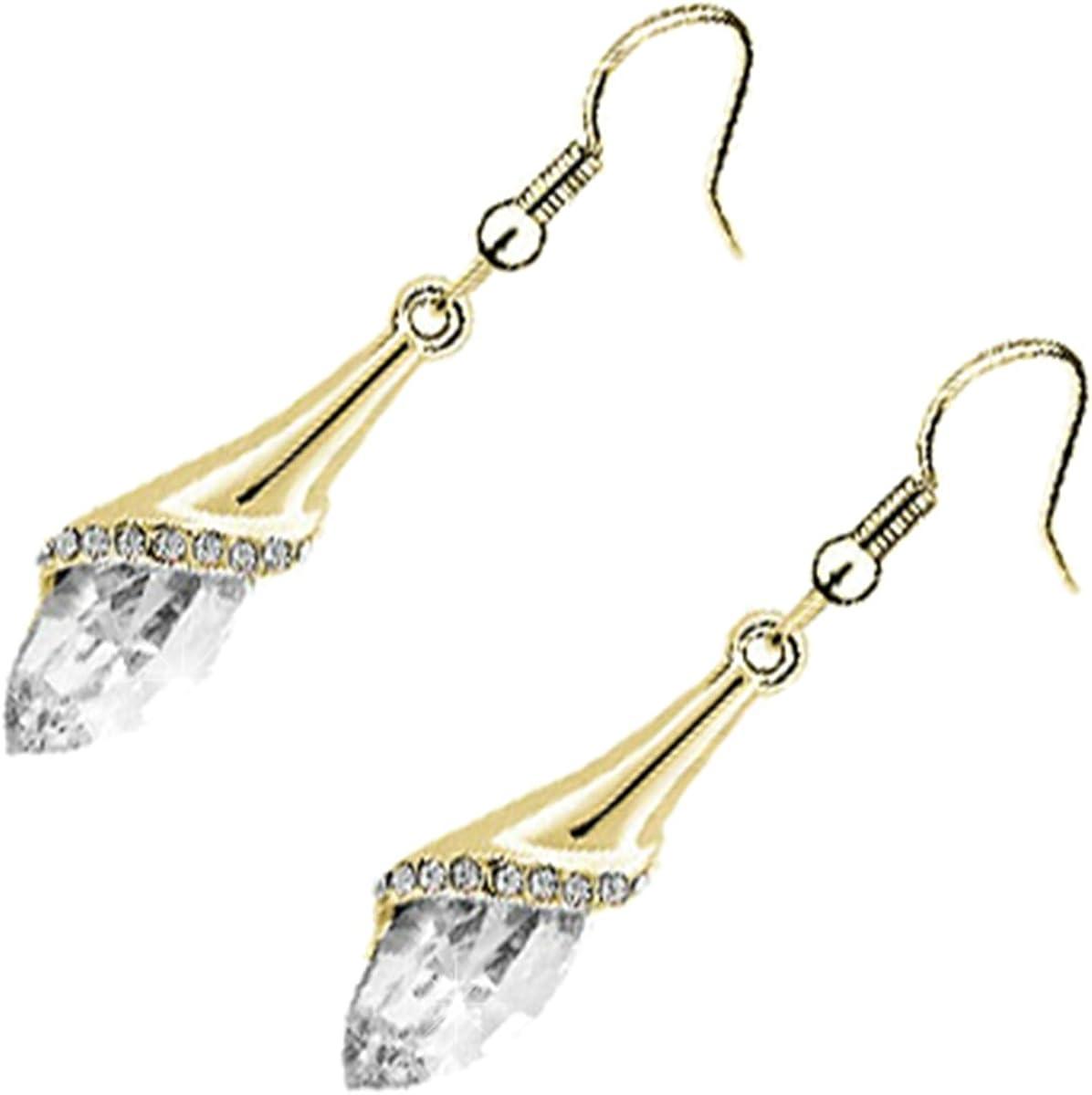 GWG Jewellery Pendientes Mujer Regalo Pendientes, Chapados en Oro 18K Cristal Central Ovalado de Colores Varios Semi Cubierto con Hoja Floral Decorada con Piedras Blancas para Mujeres