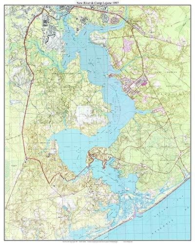 New River & Camp Lejune - 1997 Old Topographic Map USGS Custom Composite Reprint North Carolina 7x7