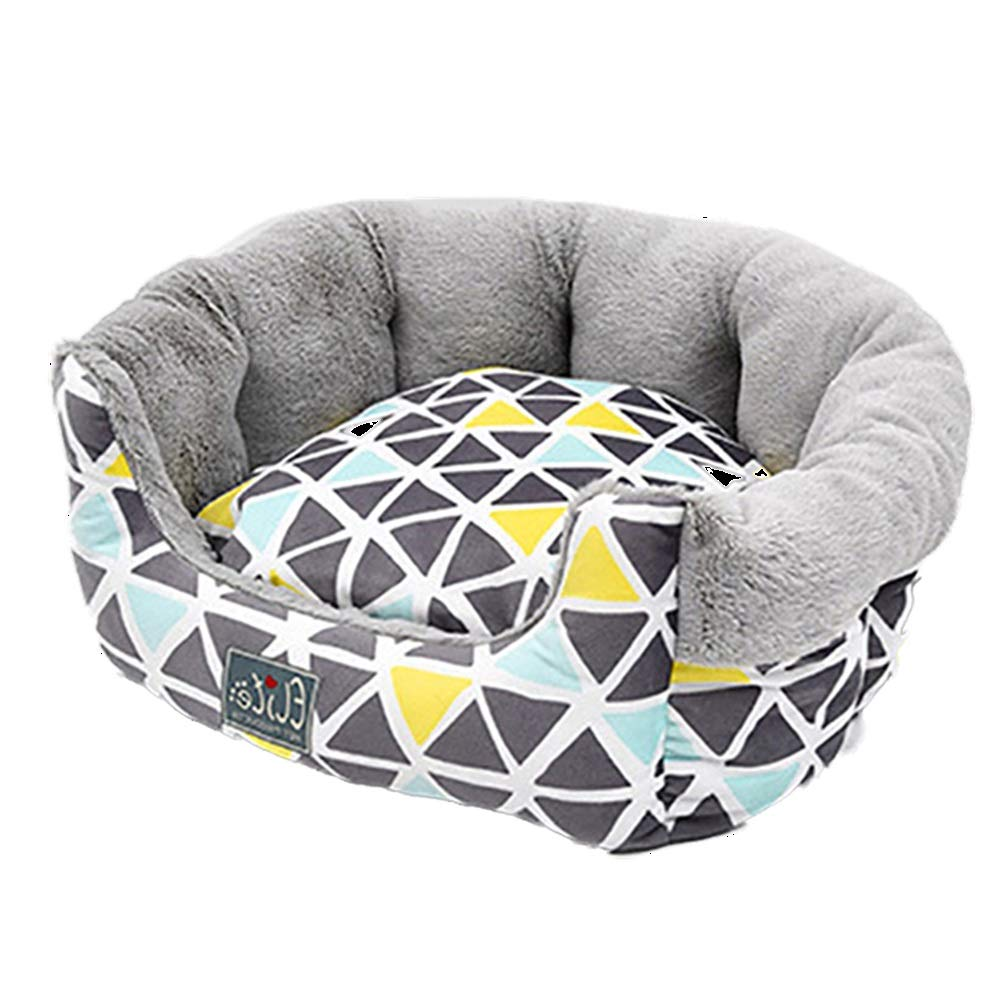 45x45x21 CM AIDELAI Round Pet Dog Bed Nordic Style Short Plush Fluffy Warm Soft Kennel Dog Pad Cushion Winter Washable Wear Resistant Moisture Proof (Size   45x45x21 CM)
