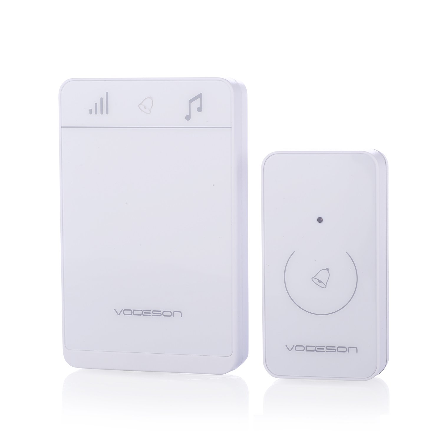 VODESON Wireless Doorbell Battery Chime Electronic Remote Control Waterproof Touch Button Portable Door Bell System 1 Touch Sensor Push Button and 1 Door Chime Use for Home Apartments Office White